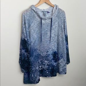 Catherine's Blue Floral Waffle Knit Hooded Top